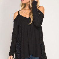 Draped in Lace Top - Black