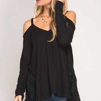Draped in Lace Top - Black - Will Ship Tuesday 3/7