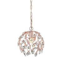 Circeo 1-Light Mini Pendant in Light Pink with Clear Crystal and Leaves