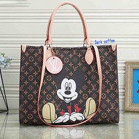 elainse29 LV Bag Louis Vuitton Mickey Mouse Bag Shopping Bag Big Square Bag Dark Coffee Monogram
