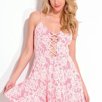 IVORY PINK LACE CRISS CROSS FRONT A-LINE SKATER DRESS