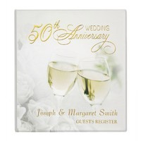 50th Anniversary - Personalized Guest Book Vinyl Binder from Zazzle.com