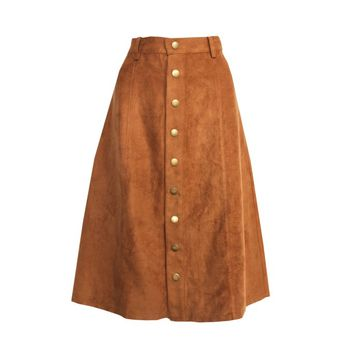 This vegan suede skirt features an A-line cut, 9 button-up at center front, and strategically place seams, and finish with 4-belt loops. Unlined. Pair with lace crop top or Heart print button down chambray shirt and floppy hat.