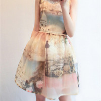 Women's No Sleeves A Shape One-Piece Dress with Rose Flowers Printing
