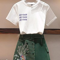 Vintage 2 Piece Set Women Letter Print Mesh Patchwork Tshirt And Fish Embroidery Green A-line Skirts Suits