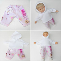 """bitty baby clothes, girl doll or 15"""" twin, white polar fleece hoodie, lavender lace edged flannel pants,2pc, handmade"""