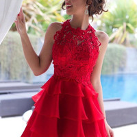 Red Lace Homecoming Dress,Sleevesless Chiffon Sexy Homecoming Dresses