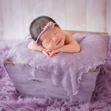 Wooden Newborn Basket Posing Box, Purple Crate Baby Photography Props