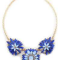 Blue Delicate Floral Bib Necklace