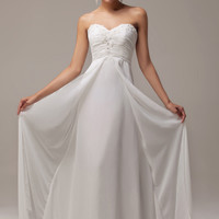 Ivory Strapless Beaded Ruched Flowing Maxi Evening Dress