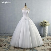 Women Lace White Ivory Gown Lace up back Croset Wedding Maxi Dresses For Bride