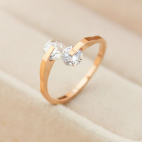 womens 14k rose gold diamond ring adjustable gift-135