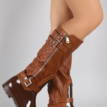 Quilted Zipper Buckled Jelly Knee High Rain Boots