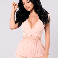 Getting Closer To You Romper - Peach
