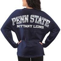 Penn State Nittany Lions Women's Aztec Sweeper Long Sleeve Top – Navy Blue
