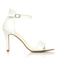 PAM White Patent Ankle Strap Barely There High Heel Sandals