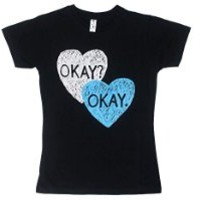 The Fault In Our Stars Okay Okay In Hearts Juniors Black T-Shirt | S