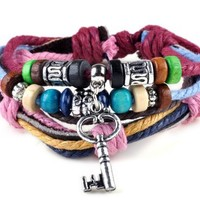 Imixlot Multi Strand Beads Suffer Hemp PU Leather Adjustable Bracelet