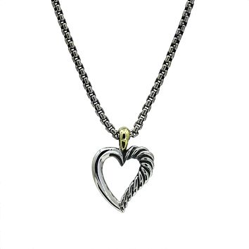 David Yurman Mini Open Cable Heart Pendant Necklace in Sterling Silver and 14k Gold