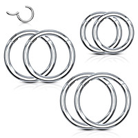 6PC Segment Ring Seamless Nose Lip Cartilage Hoop 14G 16G 18G Multicolor Steel Clicker