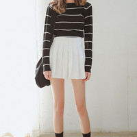 Slim Striped Print High-Low Knitted Sweaters for Women