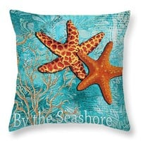 "By the Sea Shore Original Coastal Painting Colorful Starfish Art by Megan Duncanson 14"" x 14"" Throw Pillow for Sale by Megan Duncanson"