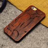 Abstract art Wood Case Wooden New Cover Carving Patterns Wood Slice Plastic Edges Back Cover for Iphone 6 case iPhone 6 Plus