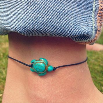 Women 1 pc Boho Turtle Ankle Chain Anklet Bracelet Foot Chain Beach Jewelry FREE SHIPPING