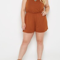 Plus Brown Surplice Romper | Plus Jumpsuits & Rompers | rue21