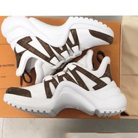 Louis Vuitton Vintage Shoes Women Men Sneakers LV Wave Line Sneaker B-CSXY Coffee/white Sports Shoes