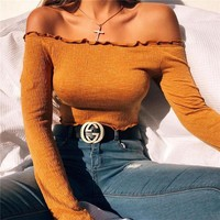 Casual long sleeve off shoulder top