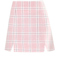 Pink Check Notch Mini Skirt