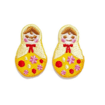Set 2pcs. Mini Matryoshka Russian Doll New Iron On Patch Embroidered Applique Size 1.9cm.x3.1cm.