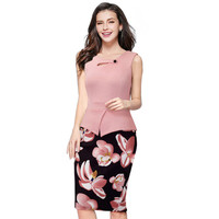 Pink Print Floral Business Dress