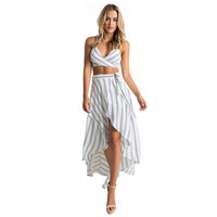 ZAFUL Brand new arrival summer style fashion Stripe Print Boho skirt woman irregular hem Beach skirt feminos vestidos