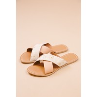 Pebble Cross Band Sandal, Gold Spot/Nude | Beach by Matisse