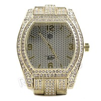 Men Simulate Diamond Gold Silver Plated Hip Hop Big Face Oval Watch 26G