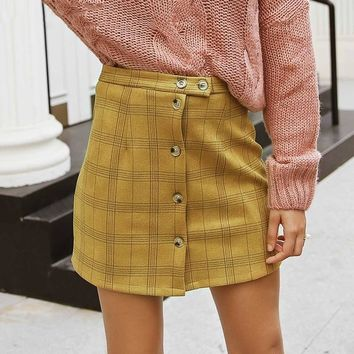 Casual button plaid short skirts women Streetwear A-line skirts female High waist yellow short skirts