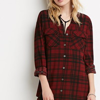 Longline Tartan Plaid Shirt - NEW ARRIVALS - 2000183519 - Forever 21 UK