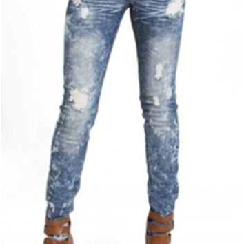 Machine Jeans Bleach Wash Destructed Skinny Jeans DMP-1A196A3