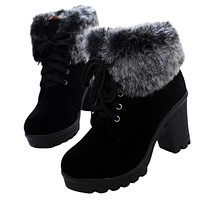 HARTFORD Women's Fashion Lace-Up Riding Boots Stylish Fur Design Winter Boots