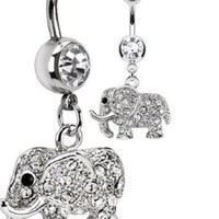Clear Elephant Belly Button Ring - 316L Surgical Steel Multi Paved CZs Elephant Dangle Navel 14g