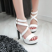 Cross Strap Buckle Gladiator Sandals High Heels 5178