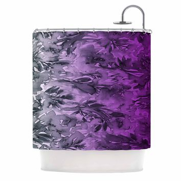 "Ebi Emporium ""Forever Flowers, Purple Ombre"" Purple Gray Watercolor Shower Curtain"