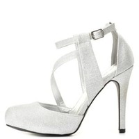 Qupid Strappy Closed Toe Glitter Heels by Charlotte Russe