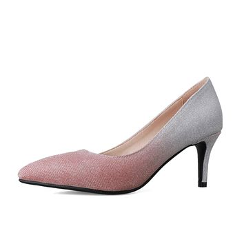 Lady Pointed Toe Shallow-mouthed  Bling Woman Pumps Stiletto Heel Shoes