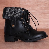 Refresh Warm Form Sweater Cuff Fold Down Lace Up Combat Boots Dason-03 - Black