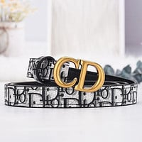 DIOR fashion CD buckle men's and women's belt women's simple fashion all-match trousers belt