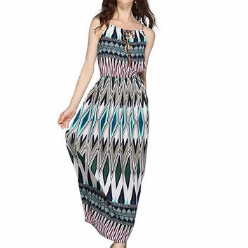 Multicolor Geo Print Braid Tie Spaghetti Strap Maxi Dress