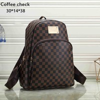 LV street fashion classic old men and women models wild fashion backpack Coffee check